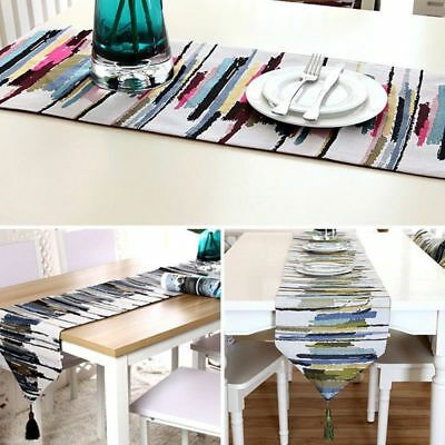 Painting Style Table Runner Colourful Stripes Table Cloth Home Decor Cover Mat