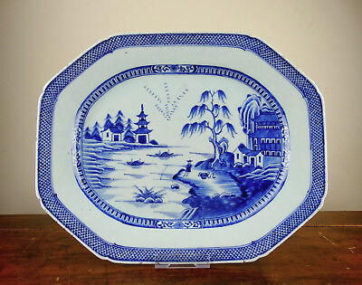 Antique Chinese Export Porcelain Meat Plate Platter Blue and White 18th Century