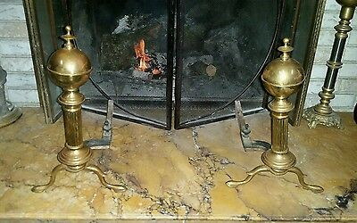Antique Brass Andirons