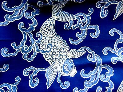 """Ronnie Gold """"koi Aegeani"""" Patterned Fabric - 1 1/3 Yards X 56 Inches"""