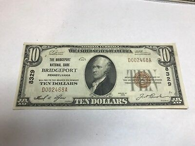 Bridgeport Pennsylvania , Bridgeport national bank , $10 ,1929 t-1 , XF