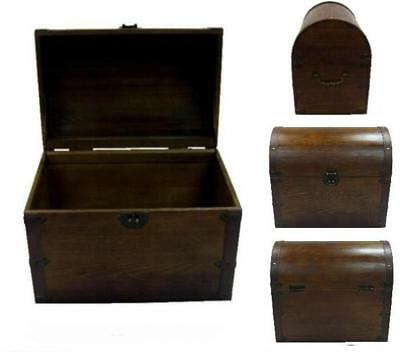 CLOSEOUT sale LARGE OPEN WOOD TREASURE CHEST storage box VINTAGE STYLE #301