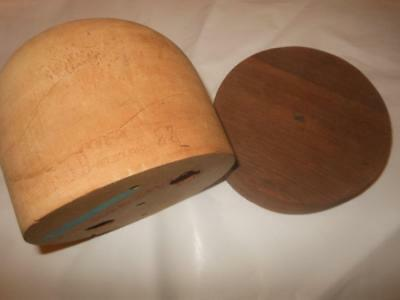 VINTAGE HAT BLOCK  Millinery Oval Dome 1950's 23 inches Godfrey Wooden+collar