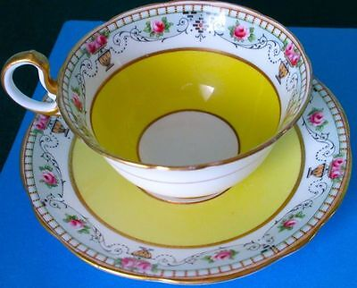 Aynsley RARE Antique Yellow with Roses and Greek Amphoras Pattern Cup & Saucer