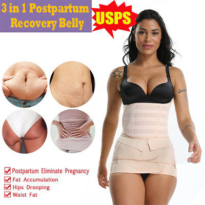 3-in-1 Women Postpartum Girdle Corset Recovery Belly Band Wrap Waist Cinchers