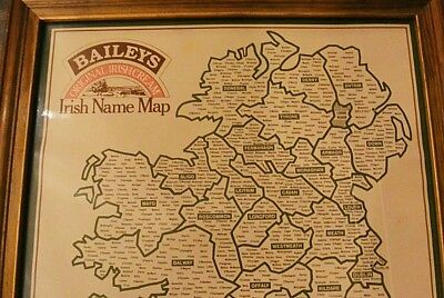 "Vintage 1977 Map of Irish Names - Framed 18x22"" - By Baileys Irish Cream"