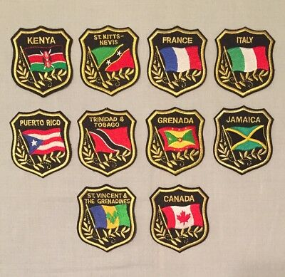 """PATCH LOT OF 10 COUNTRY Travel Souvenir 3"""" PATCHES Italy France Puerto Rico +++"""