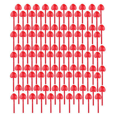 100 Pcs Cute Plastic Disposable Spoons for Party Wedding Cake Ice Cream Red