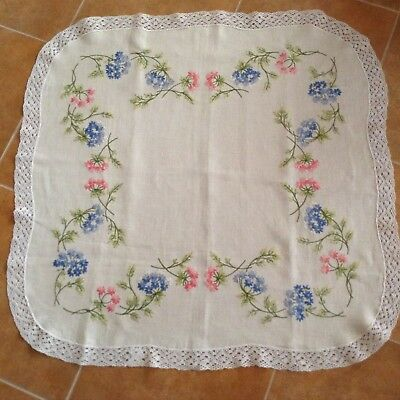 Embroidered Vintage Linen TABLE CLOTH with Crocheted Edging Great Con