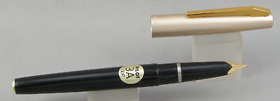 Pilot 3A Black w/Satin Silver Cap Fountain Pen - 1970's Mint New-Old-Stock