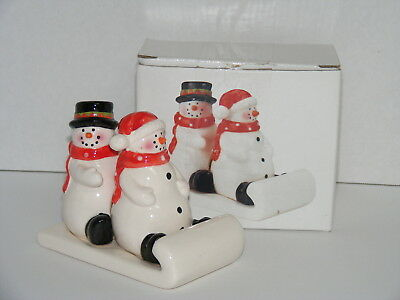 SNOWMEN ON A SLED SALT AND PEPPER SHAKERS COLLECTABLE 3pc