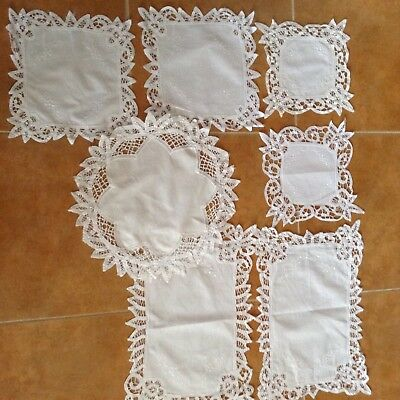 Fine Lacy Handworked Embroidered Vintage DOILIES Set of 7 in Good Condition
