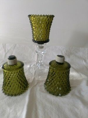 3 Vintage Homco Home Interior Green Glass Diamond Cut Votive Cup Candle Holders