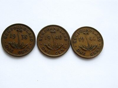 1938, 1940, 1941 Newfoundland Small One Cent