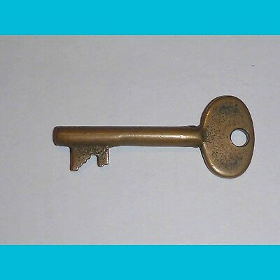 Long solid barrel BRASS Key for Antique Lock - well worn
