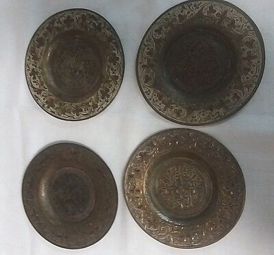 Vintage Brass Coasters Rimmed Made In British India Set Of 4 Ornate