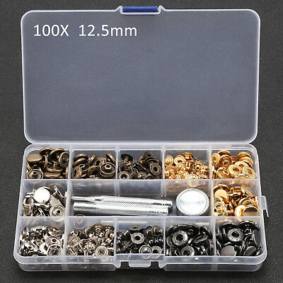 Buttons 100X 12 5mm Heavy Duty Snap Fastener Buttons Canvas