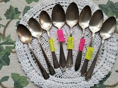 Eight Vintage Silverplate Tablespoons Mixed Lot