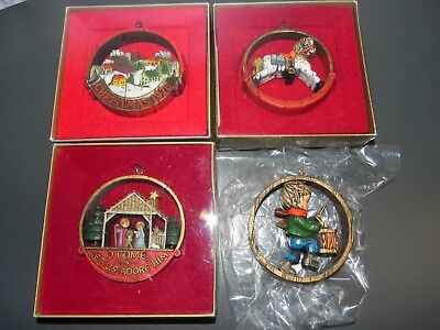 4 Vintage 1970's Hallmark Tree Trimmer Collection Peace on Earth Ornament Lot