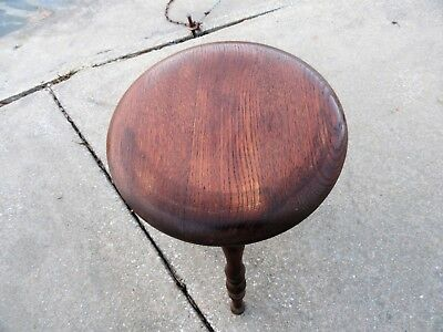 Antique Tiger Oak 3 Leg Piano Stool Swivel Top