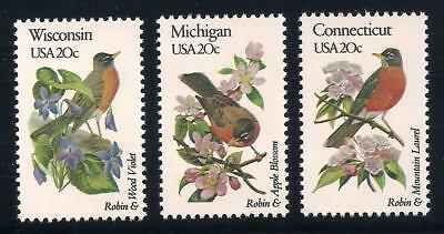 Robin - State Birds - Set Of 3 U.s. Postage Stamps - Mint Condition