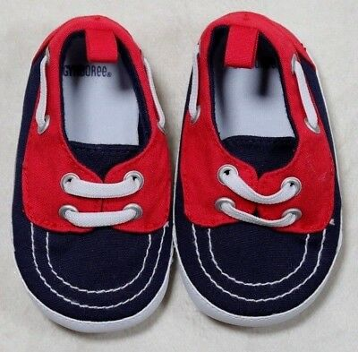 Nwot Gymboree Size 3 Baby Boy Red & Blue Boat Shoes So Cute