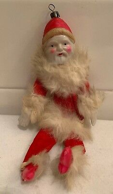 Antique Vintage Christmas Ornament Celluloid Santa Claus Rabbit Fur Trim 1930s