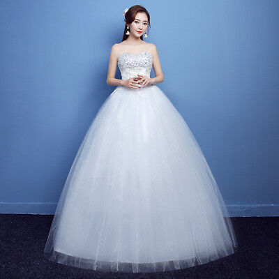 White Beading Princess Wedding Dresses Ball Gown Bridal Frock Marriage Plus Size