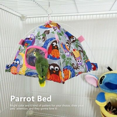 Hammock Bird Bed Toy Craft Cages Cartoon Parrot Happy Hut Pet Cage Snuggle Tent