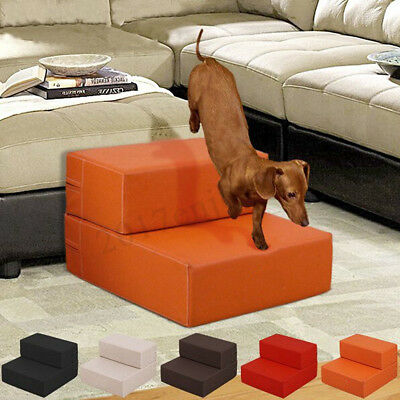 Folding Portable 2 Steps Dog Cat Pet Stairs Ramp Ladder Leather Cover Sofa