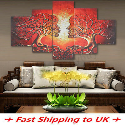5Pcs Abstract Lady Tree Love Canvas Art Print Picture Home Wall Decor