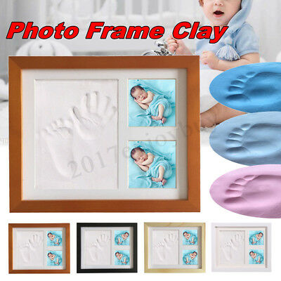 Baby Hand & Foot Print Clay Cast Kit & 2 Photo Picture Frame Christening Gift 1