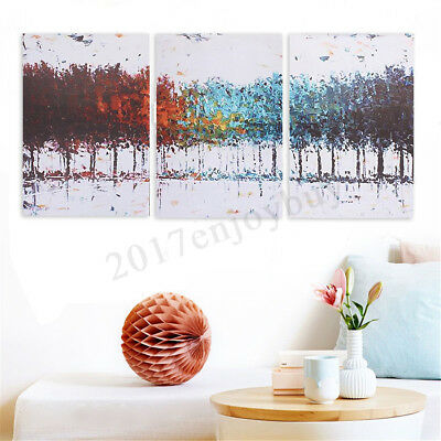 3Pcs Abstract Colorful Tree Canvas Painting Print Art Wall Home Decor