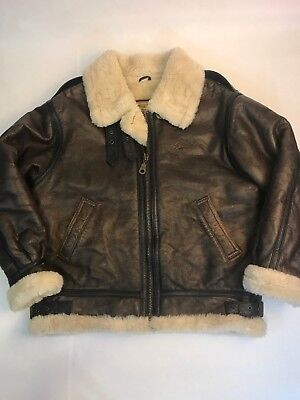 3e0fac8b9 VINTAGE GUESS LEATHER B-3 Bomber Jacket Size S Sherpa Lined