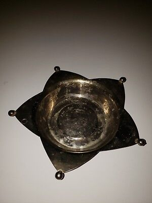 Vintage Silver Plated Dish Tarnished Antique Star Collectible