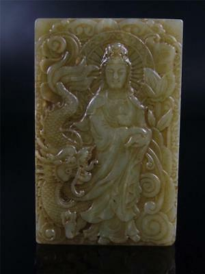 Old Chinese Nephrite Celadon Jade Carved Pendant Netsuke Kwanyin Dragon BLESSING