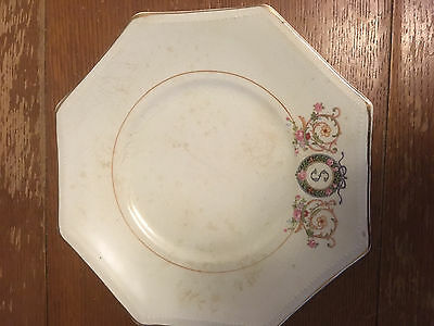 Vintage French Saxon China Co. S  octagon   gold rim  an odd plate out