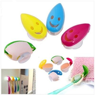 4 PCS Travel Smile Faces Antibacterial Toothbrush Suction Cup Cover Holder QK
