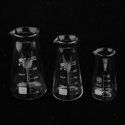 125-500ml Glass Conical Flask Erlenmeyer Graduated Boro Lab Glassware