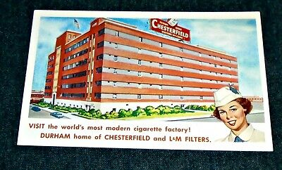 Cool 1950's Chesterfield Cigarette Factory, Durham, North Carolina Postcard