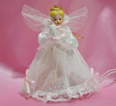 """Vintage New Lighted White Angel Tree Topper Ornament Porcelain Satin Lace~5 1/4"""""""