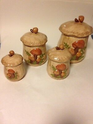 """Vintage 1976 4 Piece Sears Merry Mushroom Canister Set Marked """"Audrey"""""""