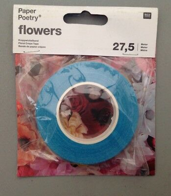 RICO Design, Paper Poetry®. Turquoise FLORAL CREPE TAPE. PAPER FLOWER PARTS