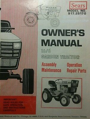 Sears Suburban 16/6 Garden Tractor Owner, Parts & OH160 Service (2 Manual s) h.p