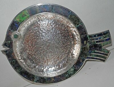 Mid 20Th Century Los Castillo Silver Plated Fish Shaped Plate With Stones