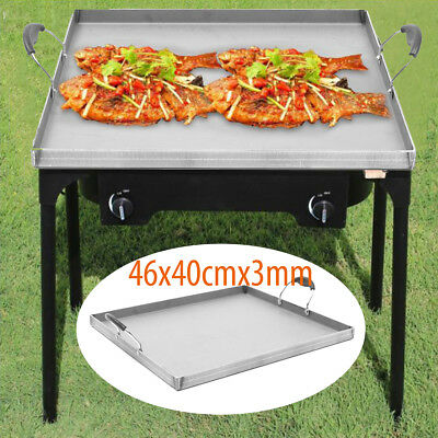 Stainless Steel Single Stove griddle flat top Pan BBQ Outdoor Grill Food Tray