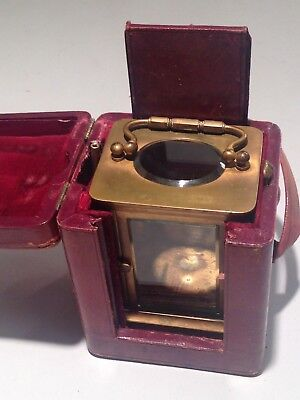 Vintage antique Display Case CARRIAGE CLOCK Case Brass & Glass  Leather box Key