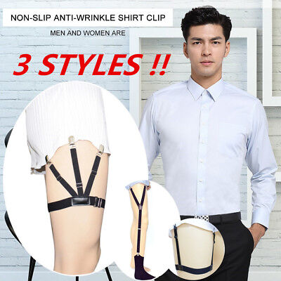 Mens Dress Shirt Stays Leg Thigh Suspender Garters Keep Tucked With Non-slip PHR