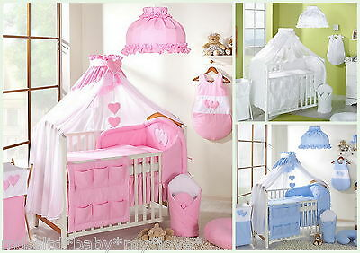 LUXURY 8 pcs BABY BEDDING SET TO FIT BABY COT or COTBED/ TEDDY BEAR  / HEART