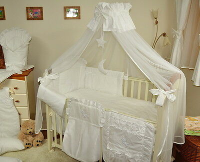 LUXURY BABY COT/COT BED/COTBED CANOPY DRAPE BIG cover4sides+FREE STANDING HOLDER